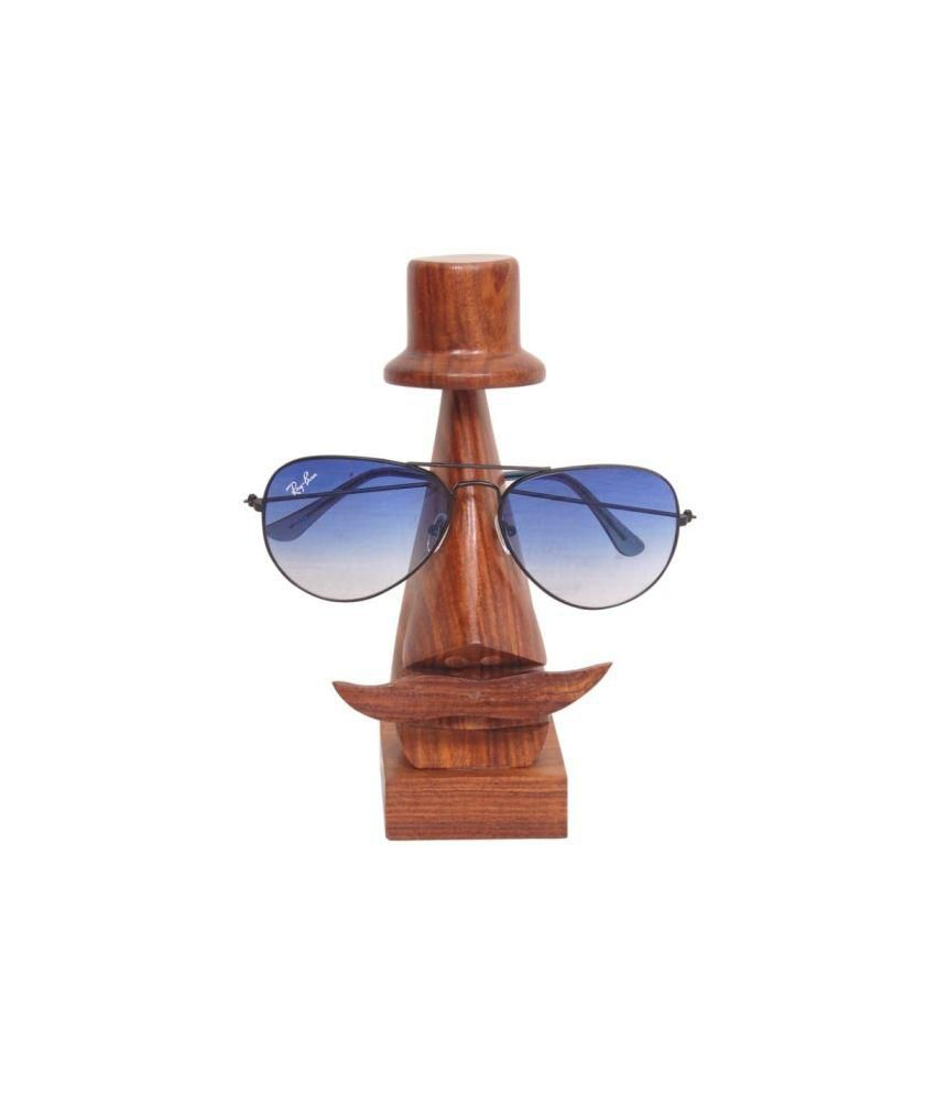 Onlineshoppee Handmade Wooden Nose Shaped Spectacle Holder Brown