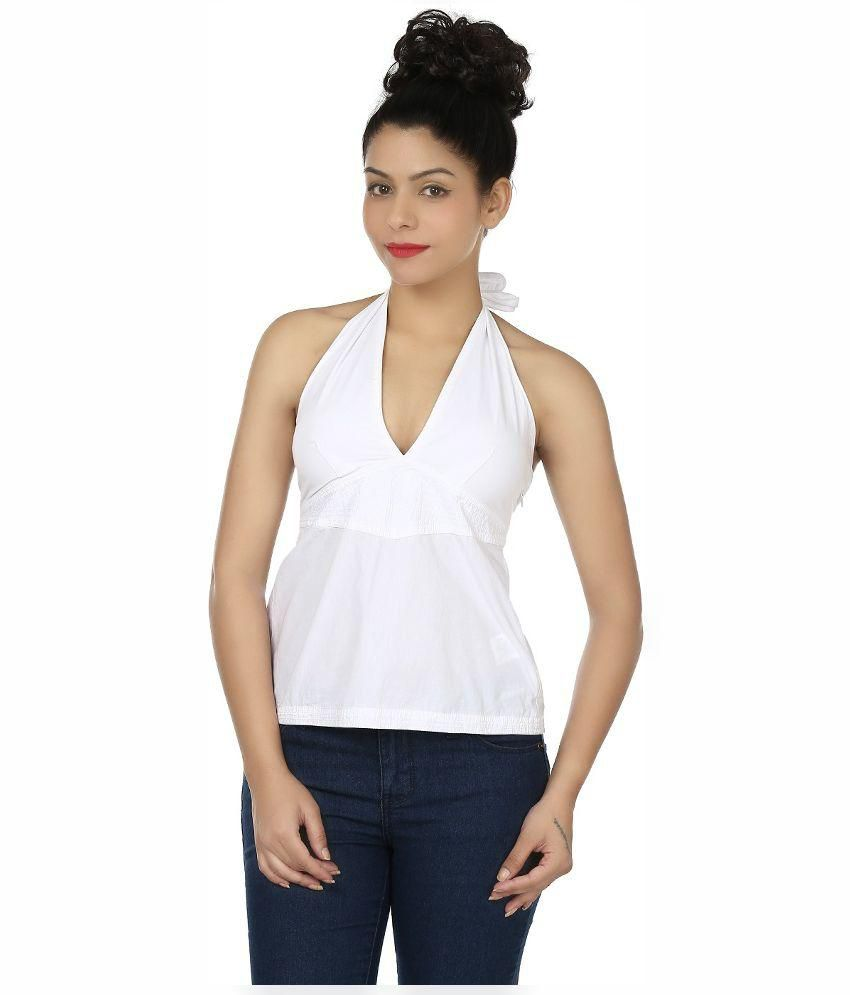 f78110aa4c3f Eves Pret A Porter White Cotton Tops available at SnapDeal for Rs.299
