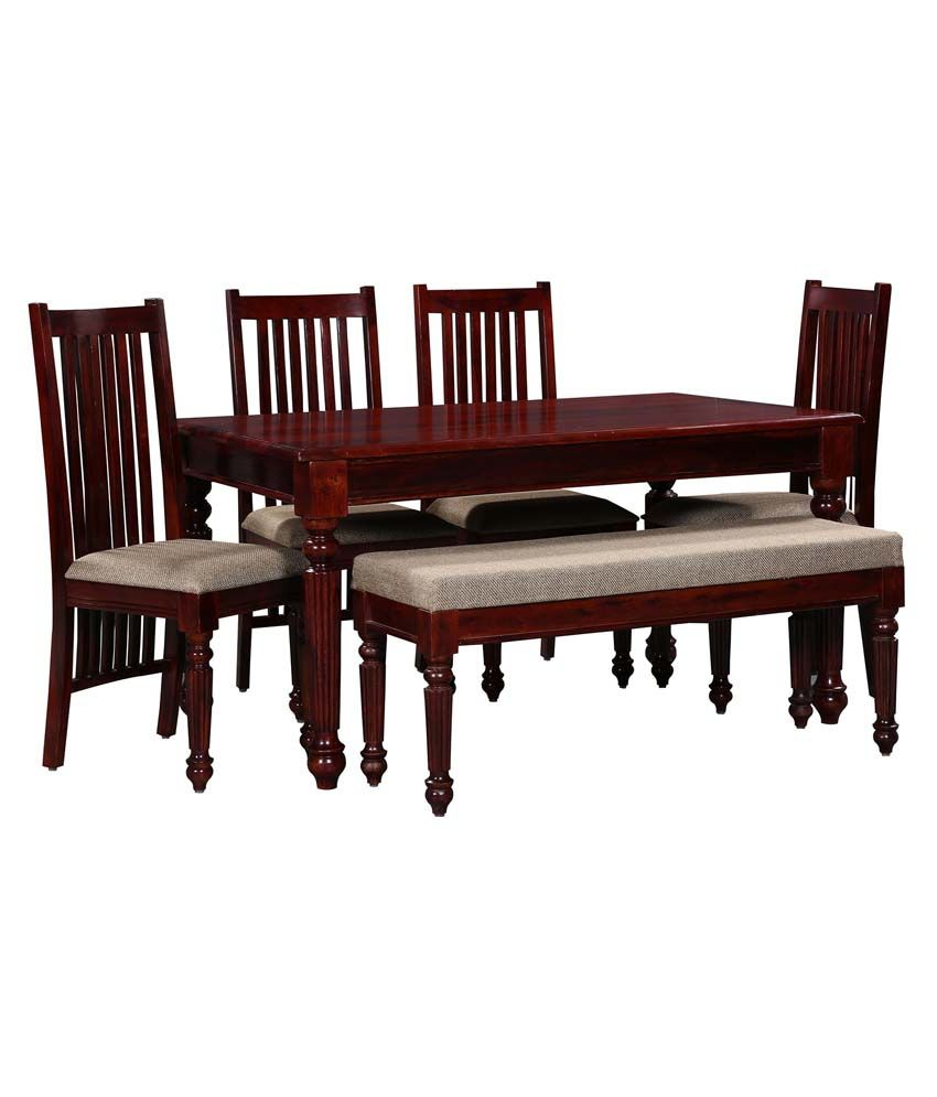 Ethnic India Art Sheesham Wood 4 Chairs Dining Set With Bench Buy Ethnic In