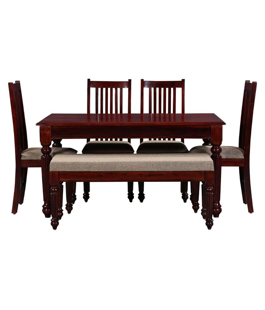 Ethnic India Art Sheesham Wood 4 Chairs Dining Set With Bench