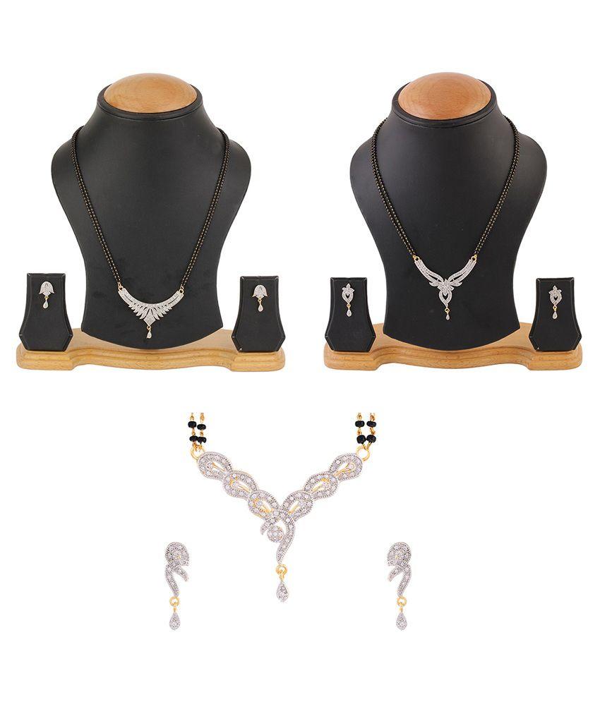 Zeneme American Diamond Gold Plated Mangalsutra Combo