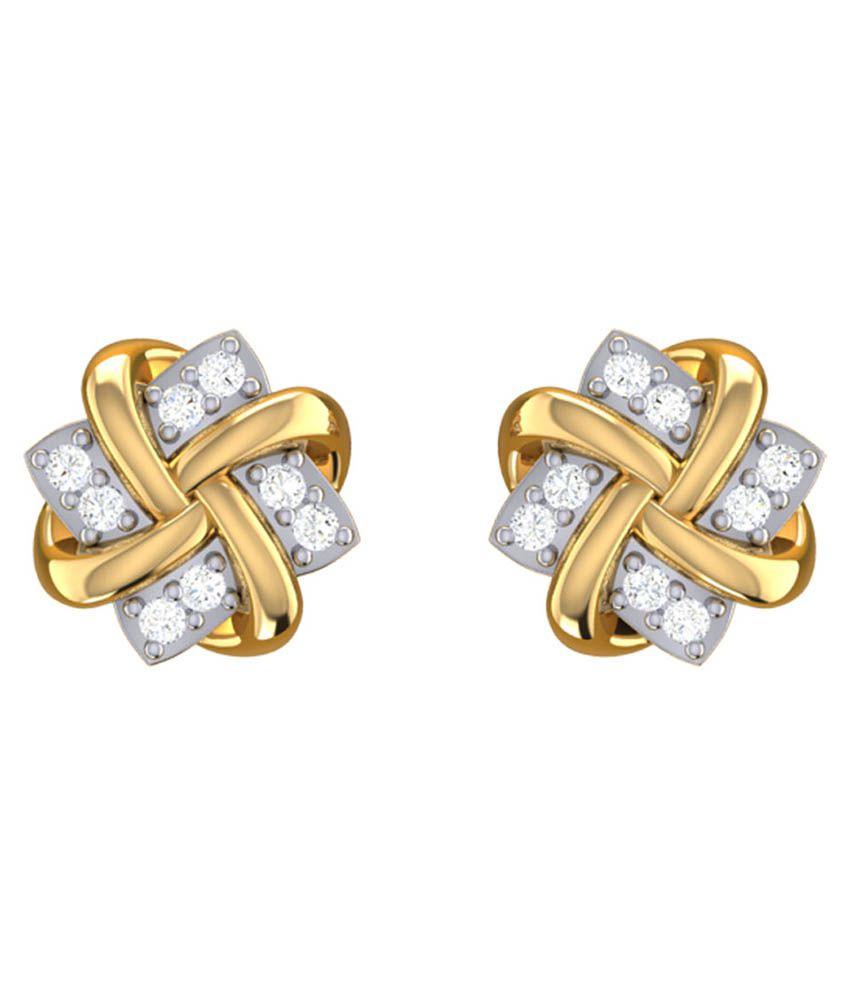 Liebe Bis Hallmarked 18kt Gold & Diamond Studded Earrings