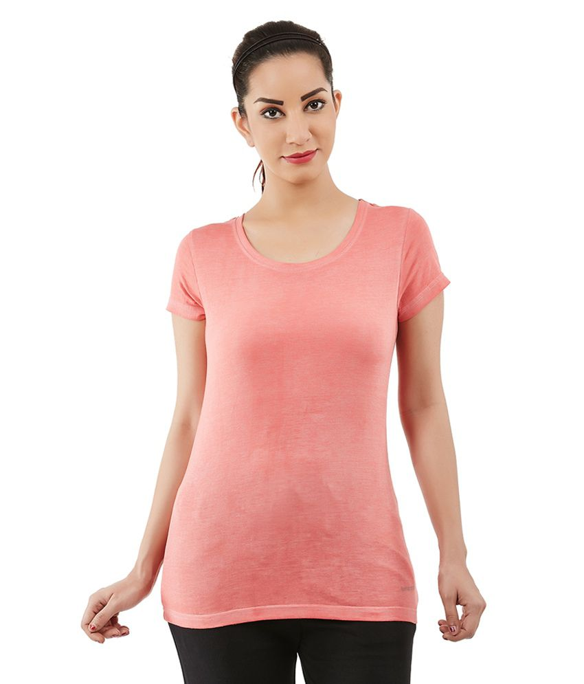Foreveryoga Peach Strechable Round Neck Tee