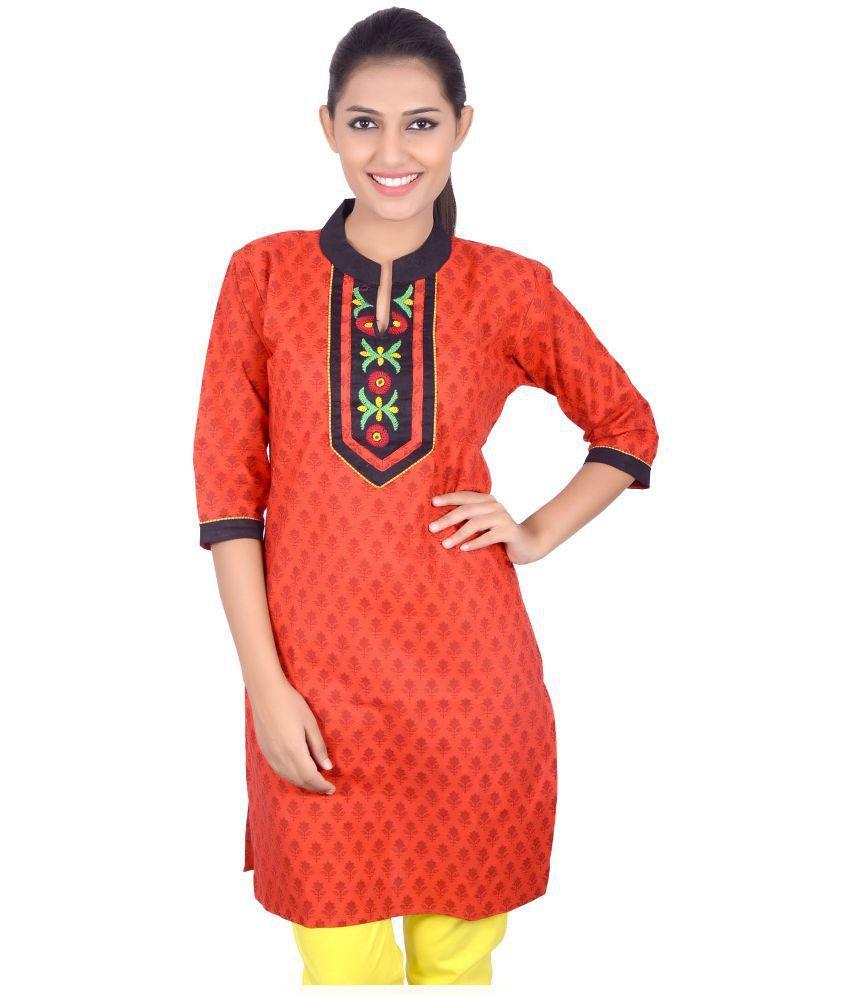 Parth Handicraft Orange Straight Cotton Kurti