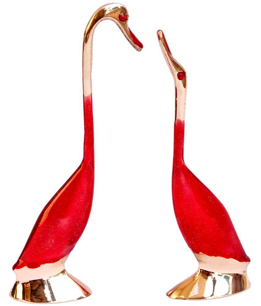 Folkshopz Red Brass Decorative Swan - Set of 2