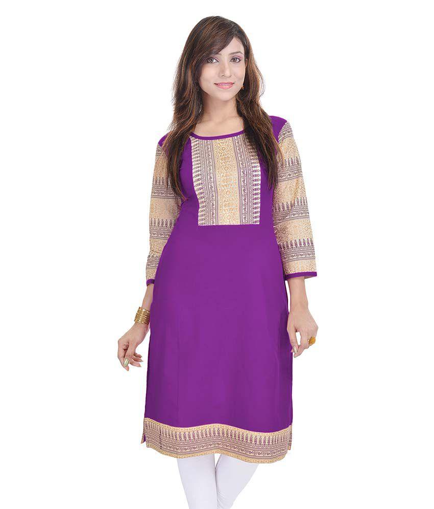 Rangeelo Rajasthan Purple Straight Cotton Kurti