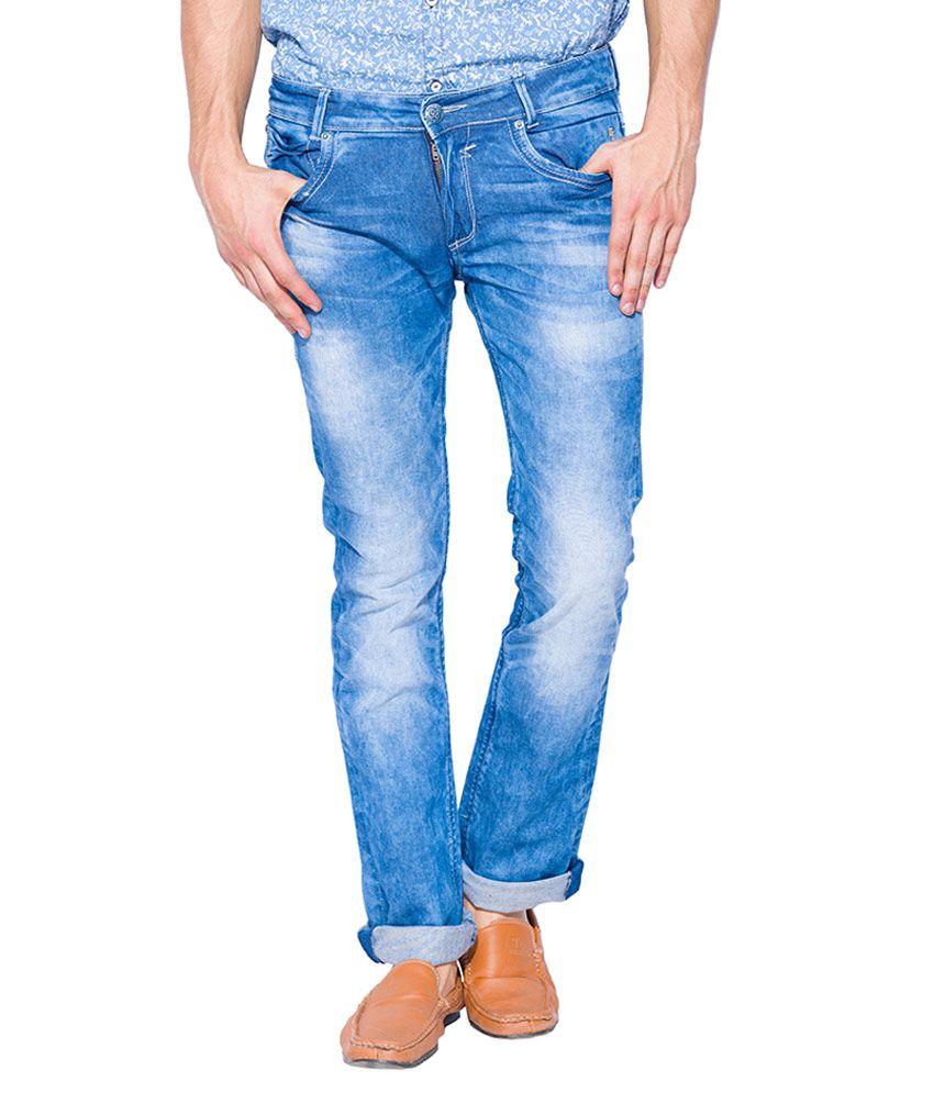 Mufti Blue Boot Cut Fit Jeans