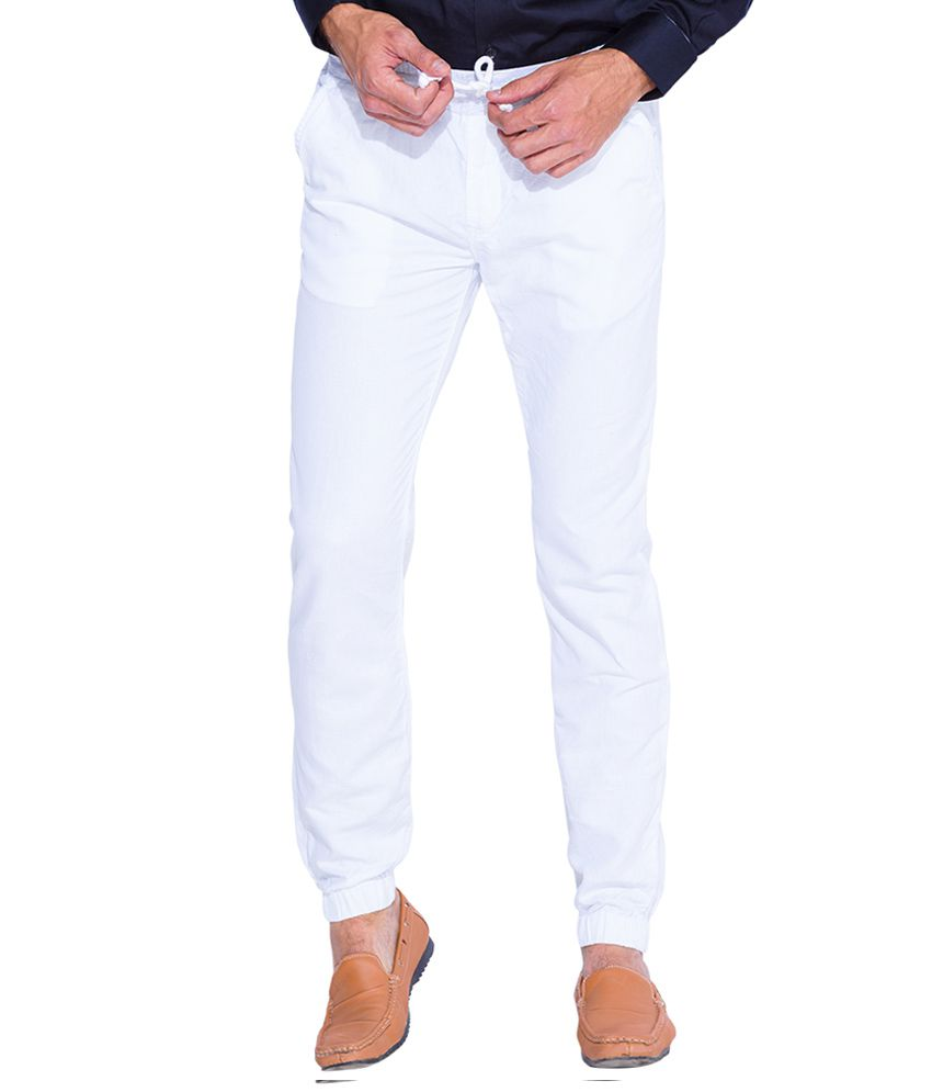 Mufti White Slim Fit Trousers
