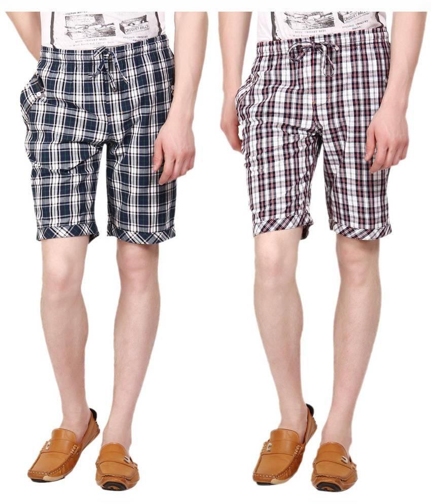 Wajbee Multicolour Cotton Checks Short - Pack of 2