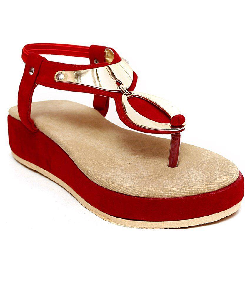 Royal Footwears Red Wedges Heels