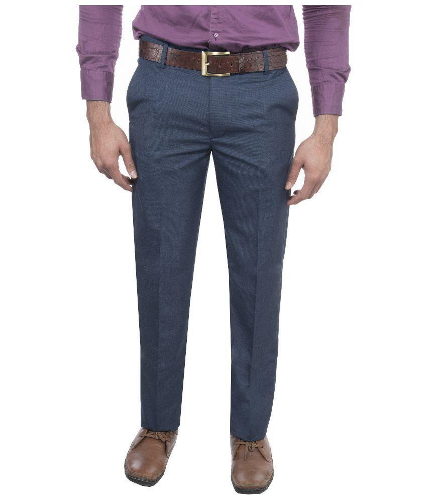 Le Meiux Blue Slim Fit Flat Trouser