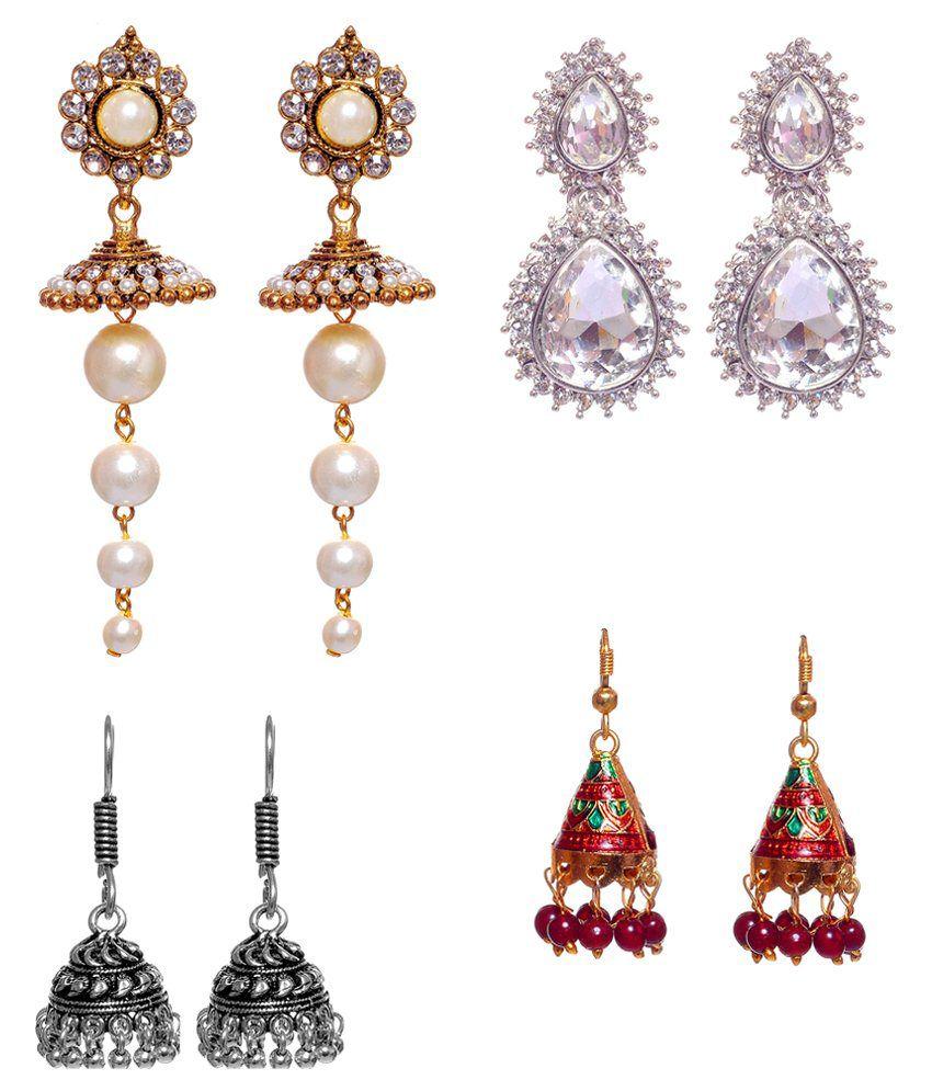 Lucky Jewellery Multicolour Alloy Earrings Combo Of 4