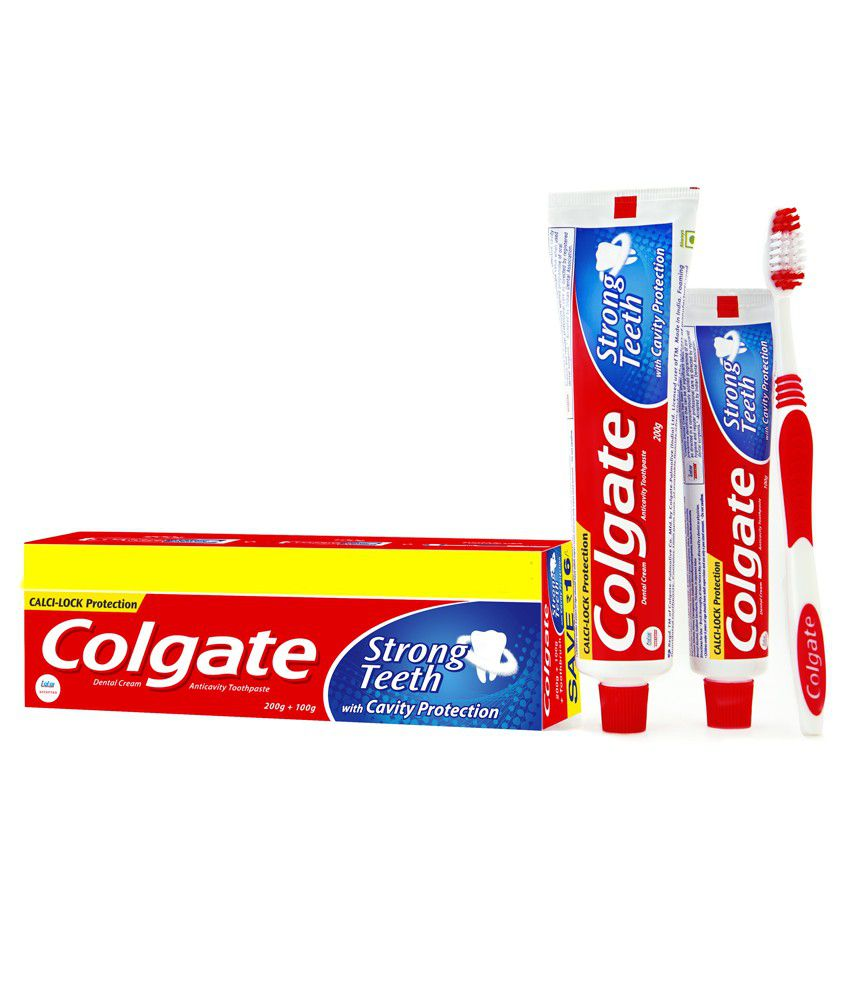 Colgate Strong Teeth Toothpaste 200gm + 100gm + Toothbrush Saver Pack
