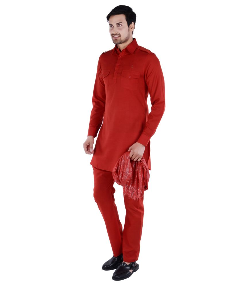 779dc8d7e6 S9 Men Red Pathani Suits No - Buy S9 Men Red Pathani Suits No Online at Low  Price in India - Snapdeal