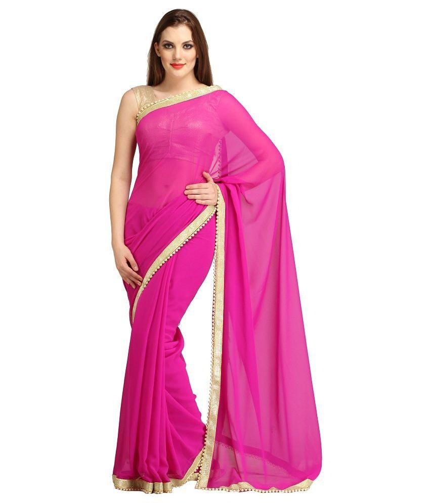 Ambaji Fashion Pink Georgette Saree