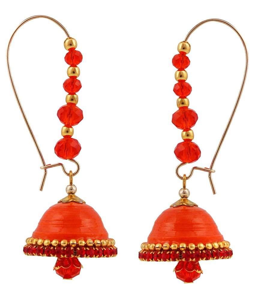 Pioneerpragati Orange Alloy Jhumkis