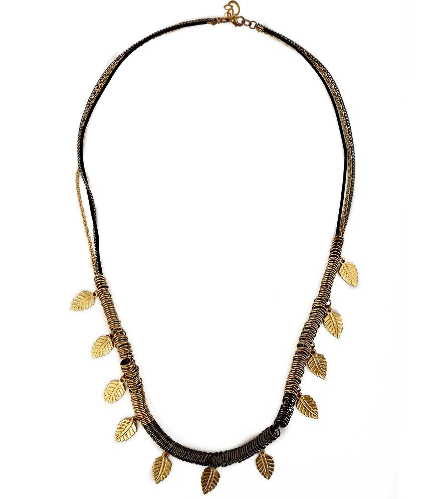 Chickraft Green Leaf Golden Contemporary Necklace