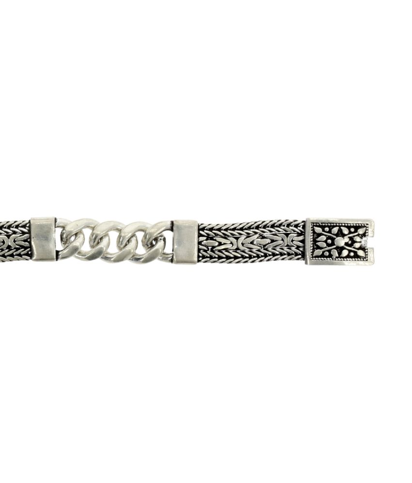 Abhijewels Oxidised Silver Chain Bracelet For Men Buy Abhijewels