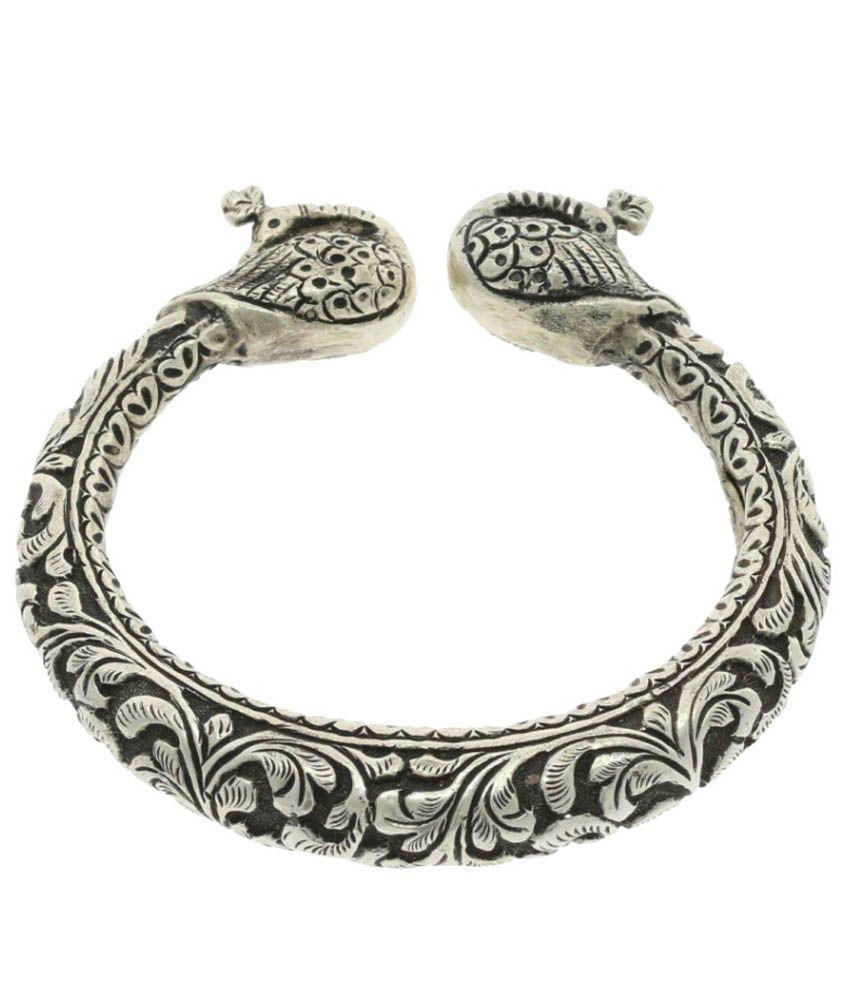 Abhijewels Oxidised Silver Peacock Kada For Women Buy Abhijewels