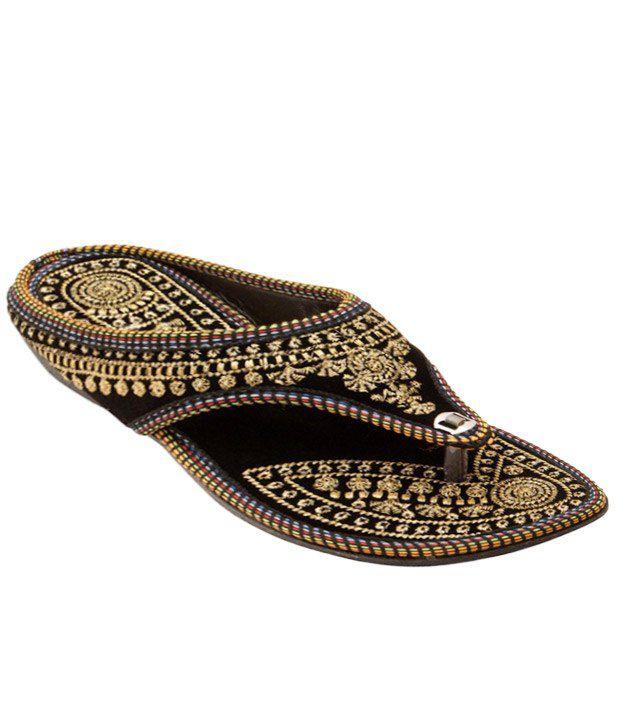 Rajasthani Black And Yellow Ethnic Heeled Slip Ons