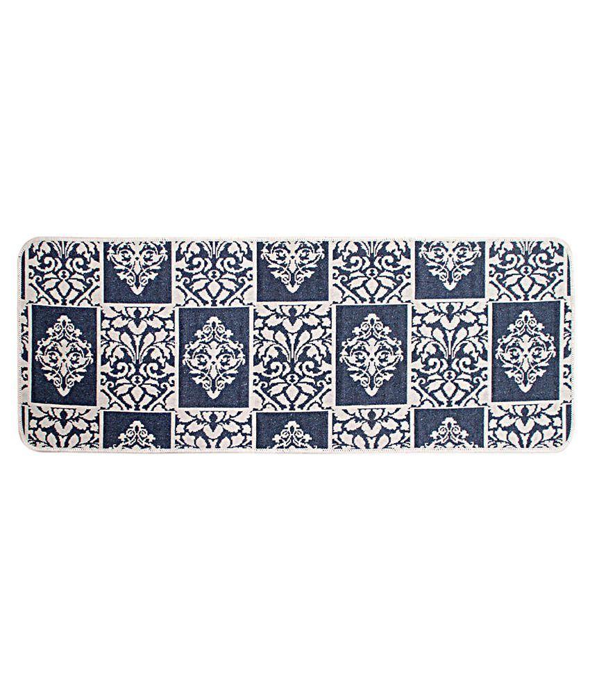 Saral Home Black Cotton Machine Made Floor Mat