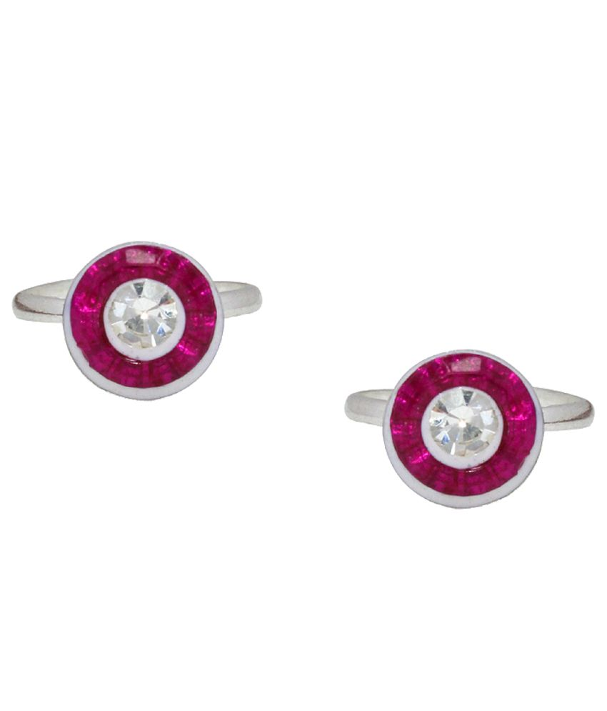 Paramsai Pink And Silver German Silver Toe-ring