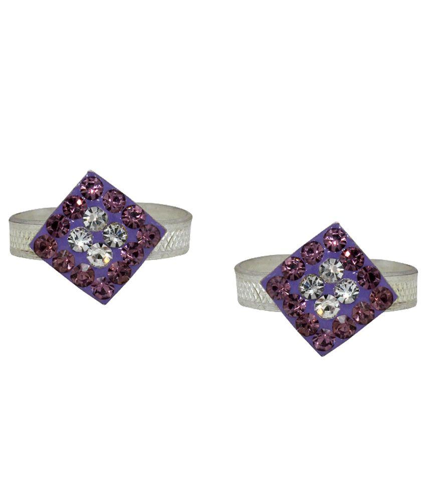 Paramsai Silver And Purple German Silver Toe-ring