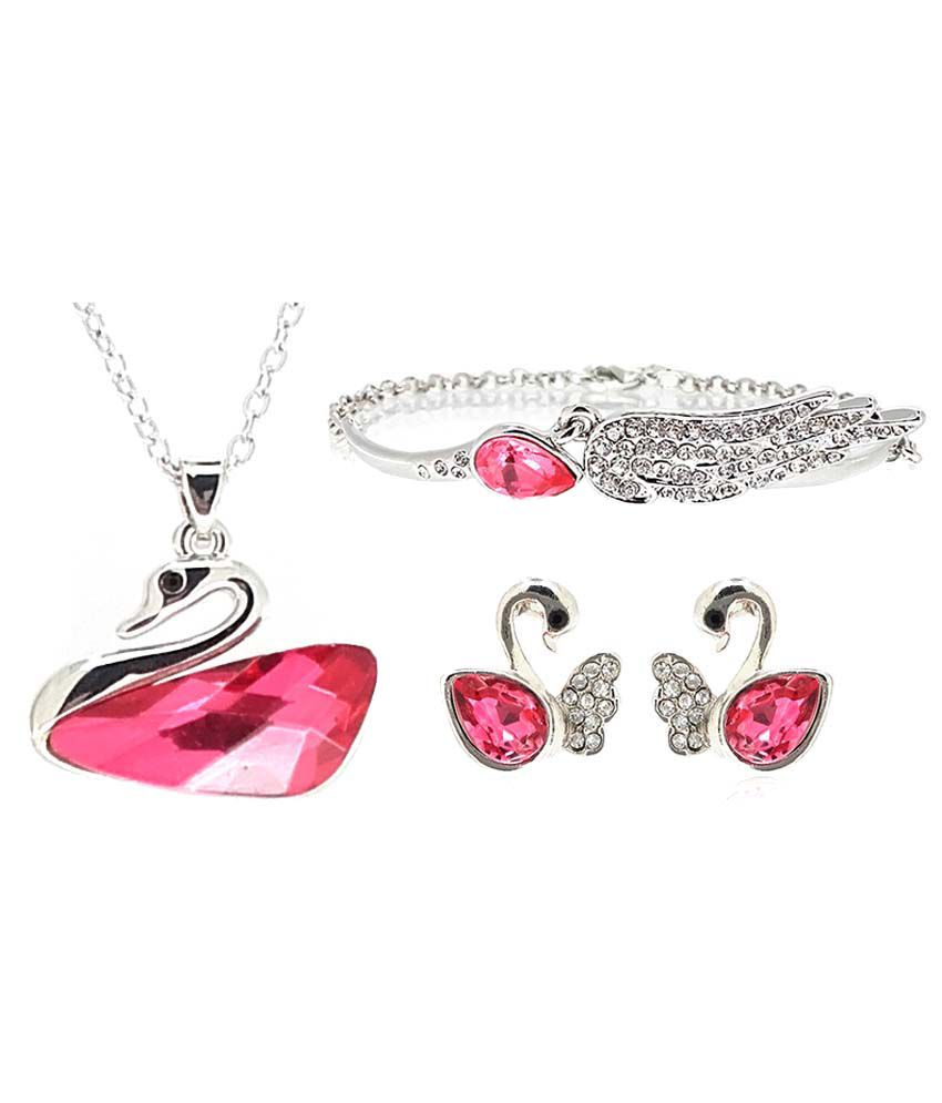 Youbella Silver And Pink Alloy Pendant Set And Bracelet Combo