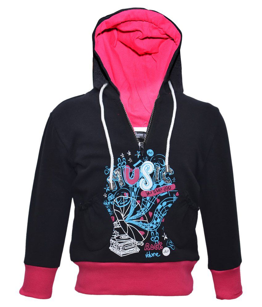 Cool Quotient Black Hooded Sweatshirt For Girls