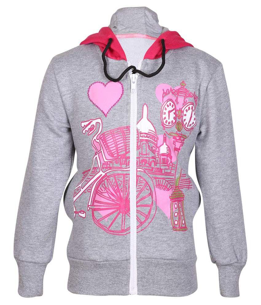 Cool Quotient Gray Hooded Sweatshirt For Girls