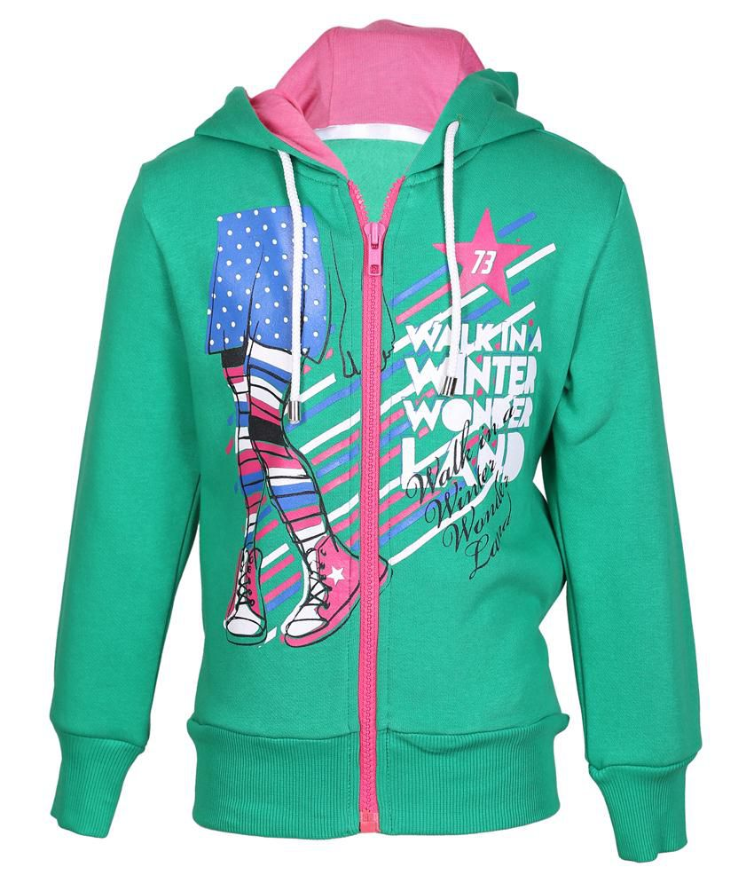 Cool Quotient Green Hooded Sweatshirt For Girls