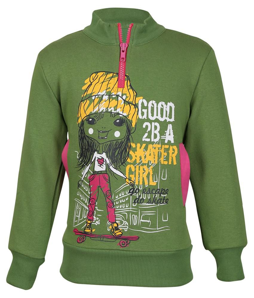 Cool Quotient Green Sweatshirt For Girls