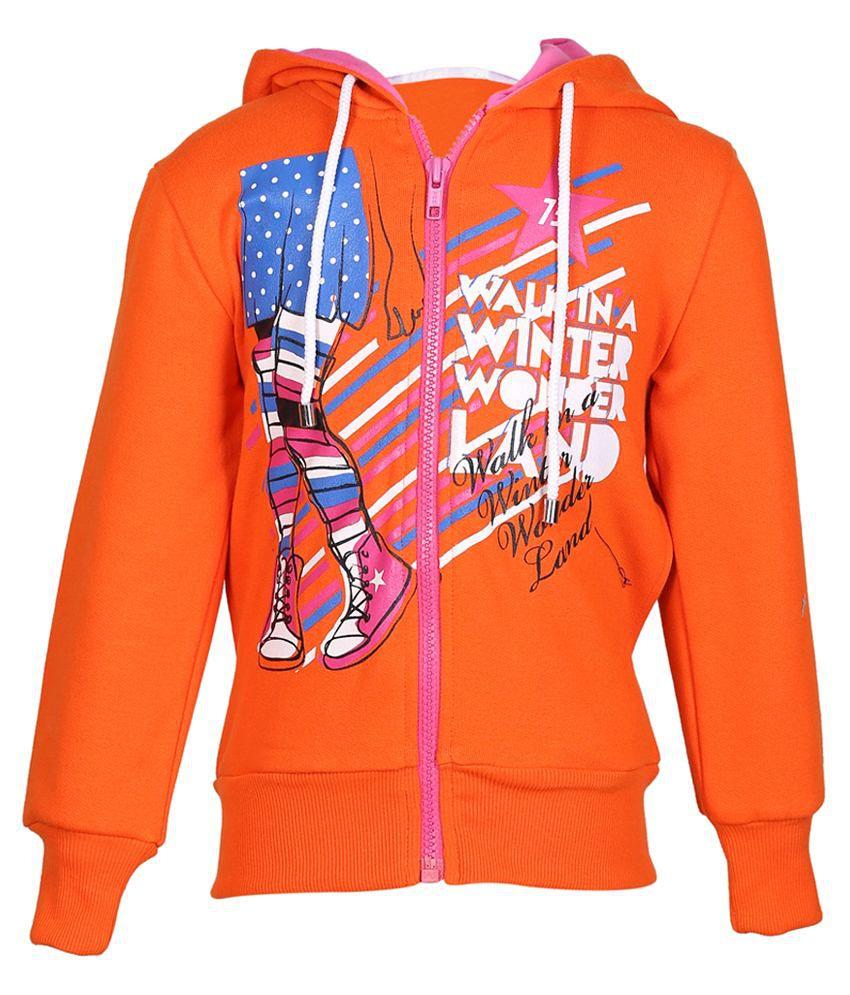 Cool Quotient Orange Hooded Sweatshirt For Girls