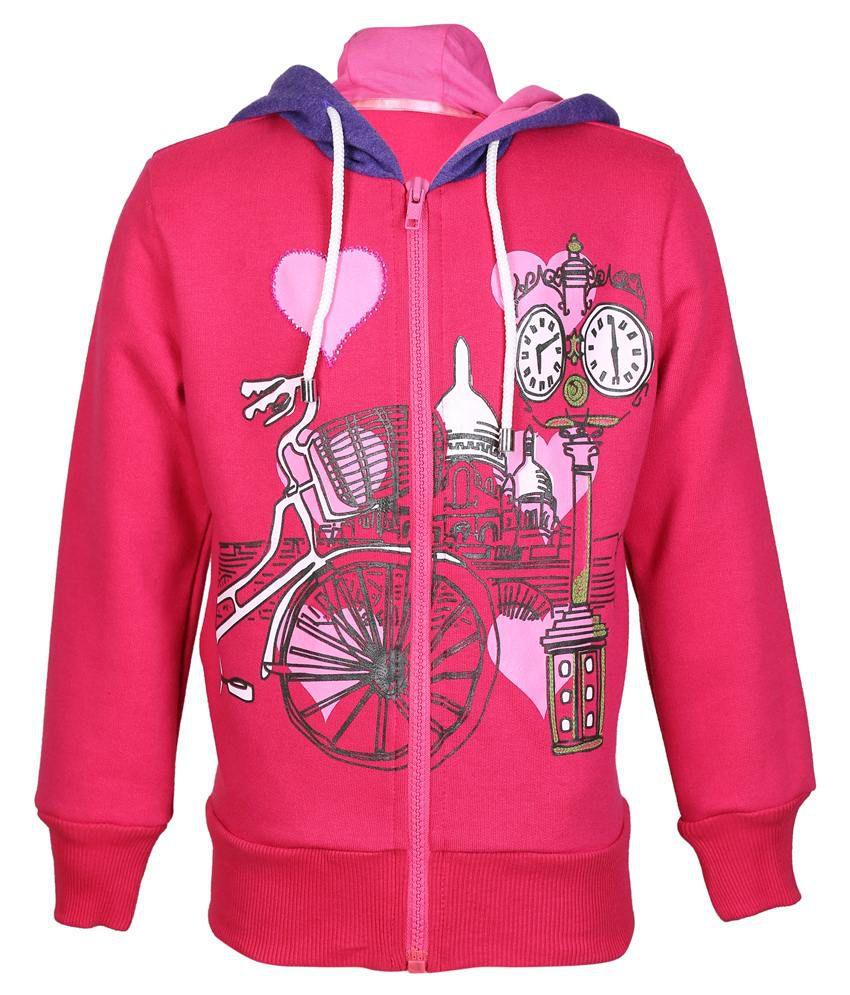 Cool Quotient Pink Hooded Sweatshirt For Girls
