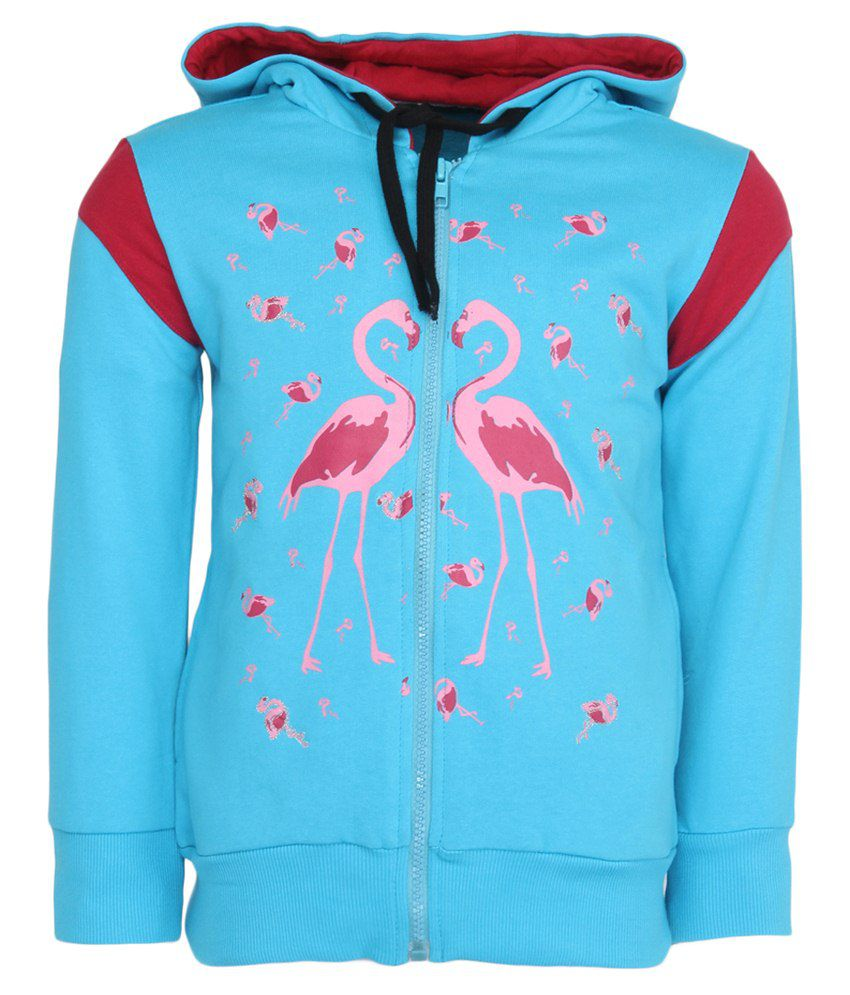 Cool Quotient Turquoise Hooded Sweatshirt For Girls