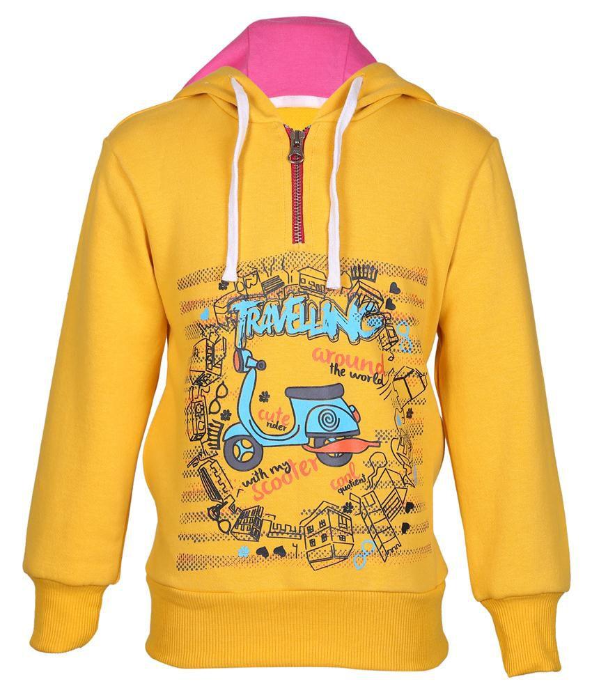 Cool Quotient Yellow Hooded Sweatshirt For Girls
