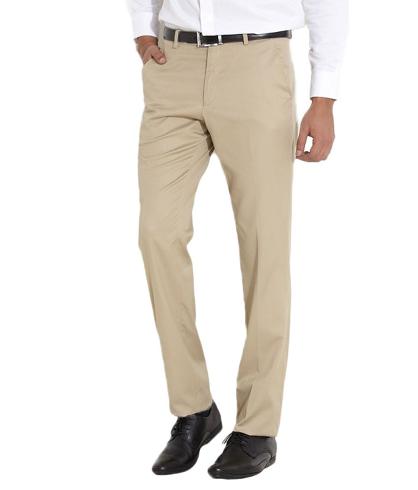 AD & AV Beige Regular Flat Trouser