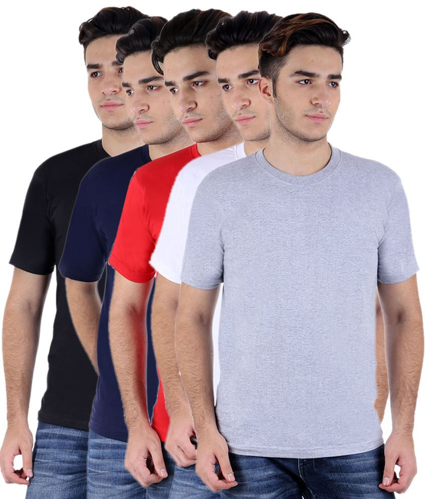 Christy World Multicolor Round Neck T-shirt Combo Of 5