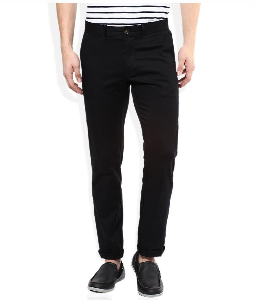 Febulous Black Slim Fit Chinos Casual Trousers