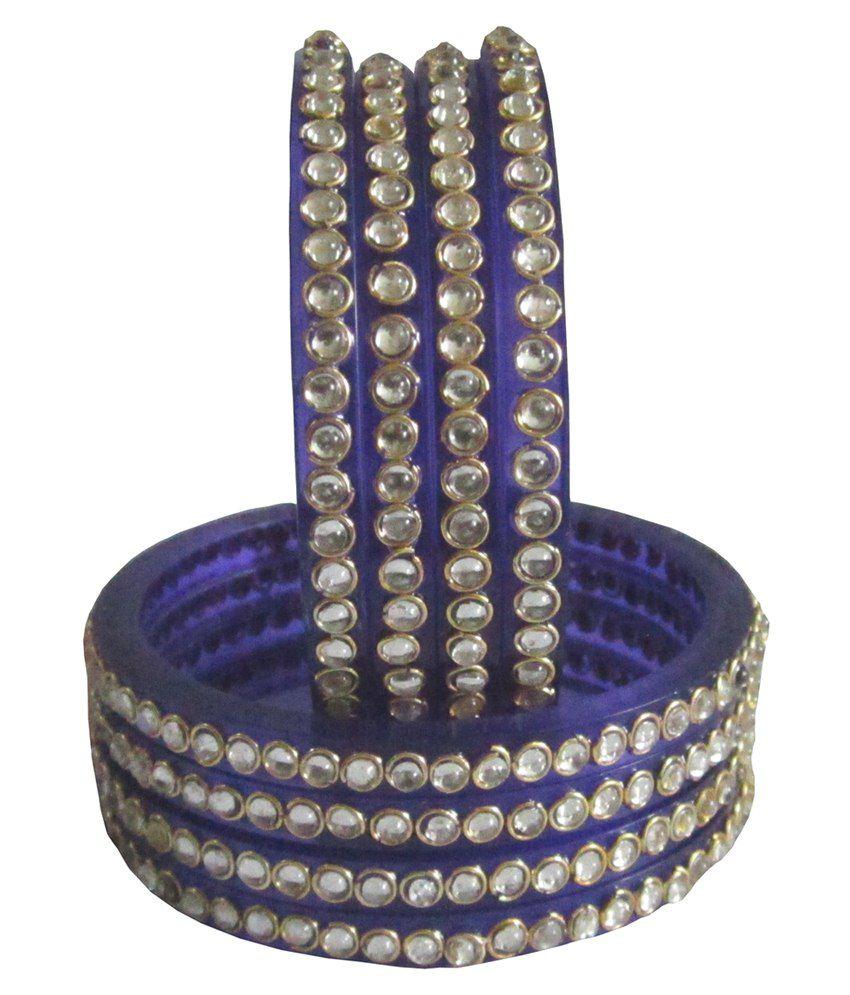Krishna Eshop Blue Acrylic Bangle Set