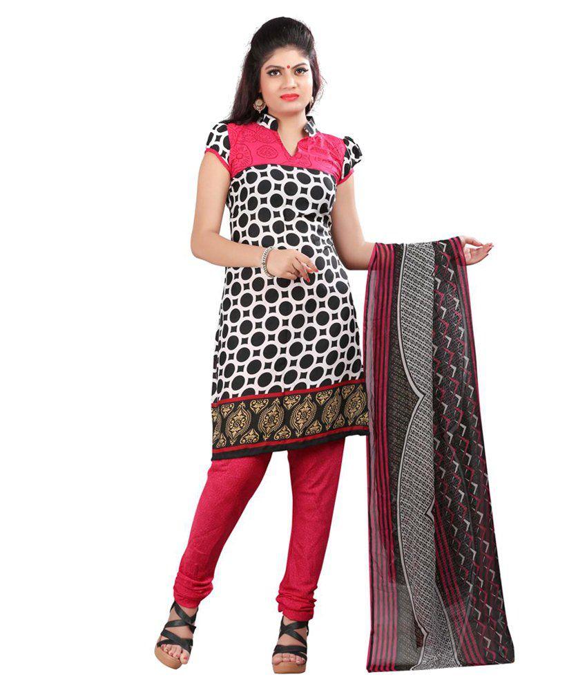 Lexsus Fashion Pink Cotton Unstitched Dress Material