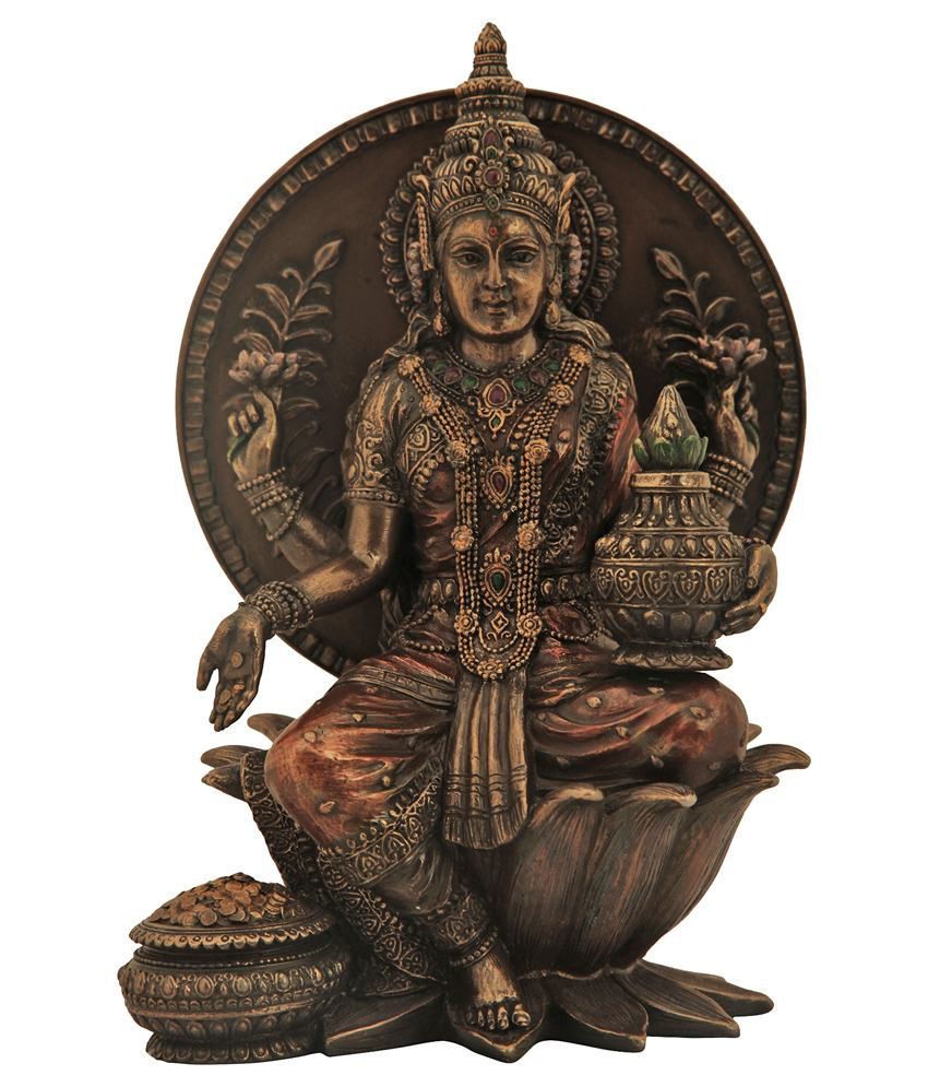 Recrafto Dark Resin Brown Laxmi God Idol