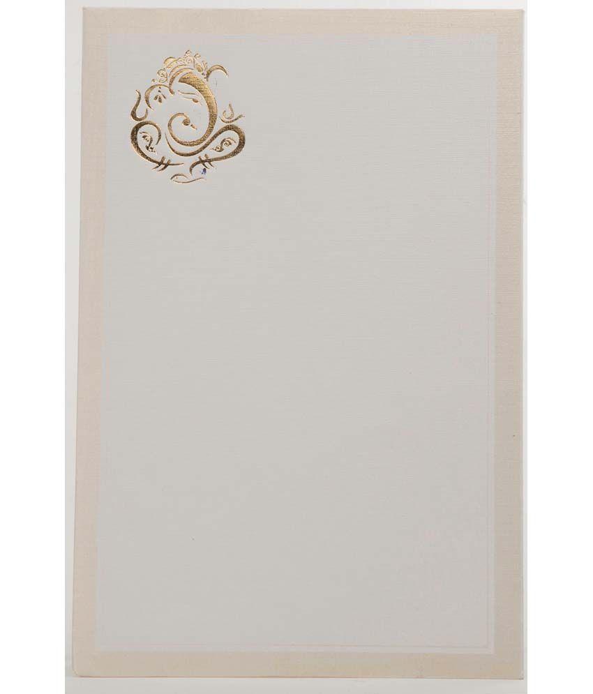 Sevenpromises White Hindu Wedding Card With Golden Ganesha Design