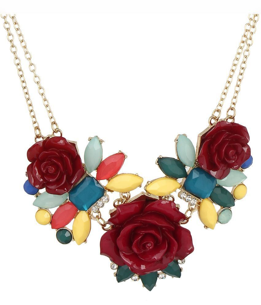 Fayon Pink Alloy Contemporary Floral Coloured Bead Necklace