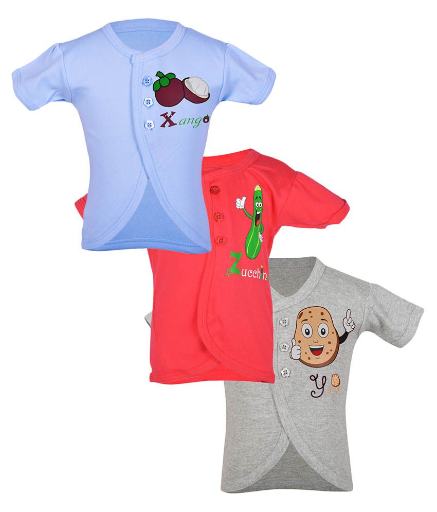 Gkidz Multicolor Cotton Tops - Pack Of 3