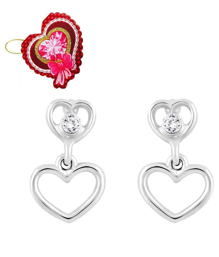 Mahi Silver Alloy Crystal Stud Earrings