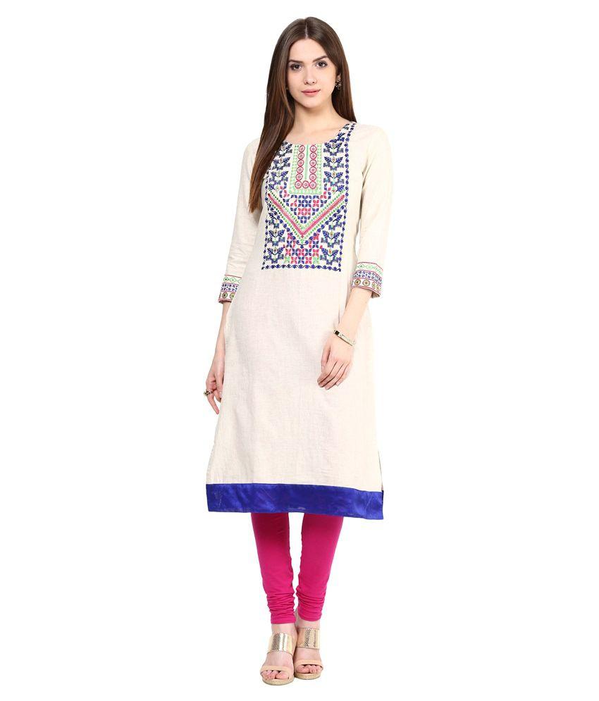 Prakhya Blue Straight Cotton Kurti