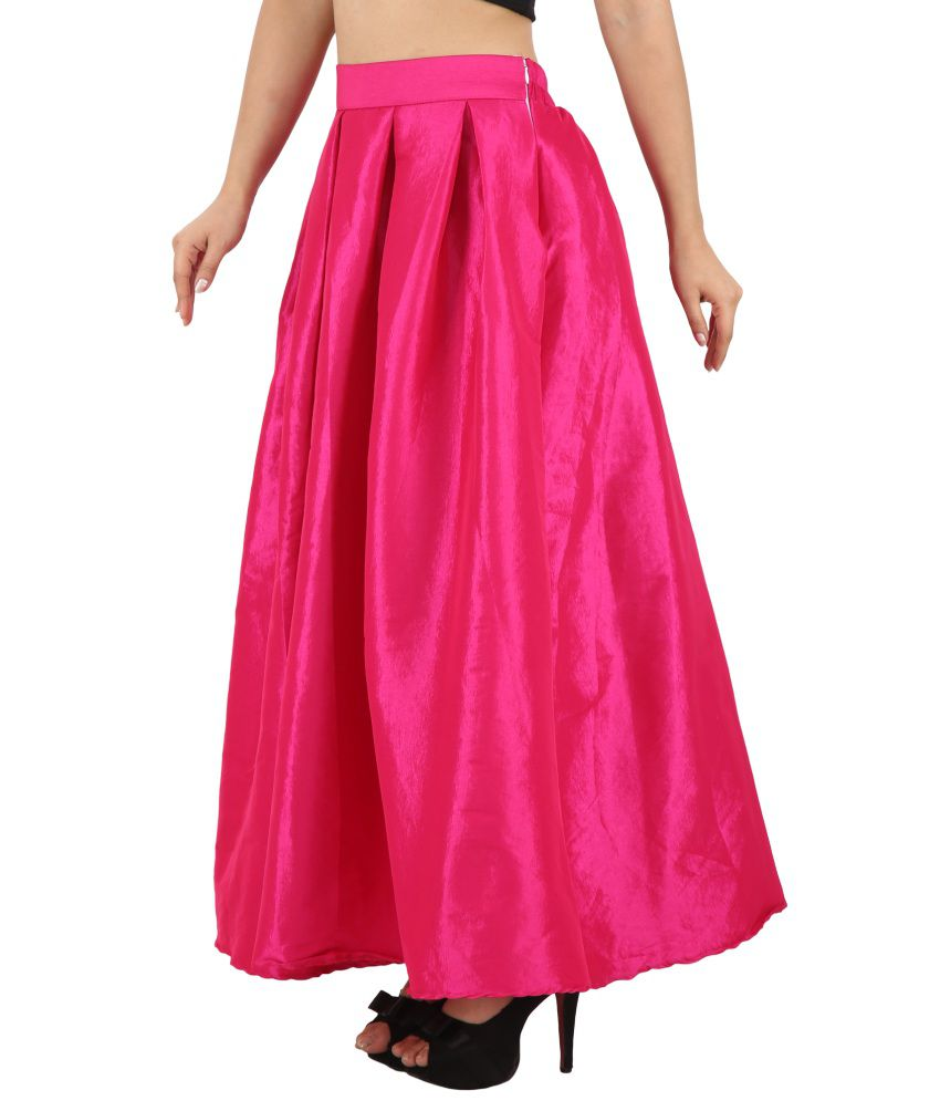 Buy Svt Ada Collections Pink Poly Silk Maxi Skirt Online at Best ...