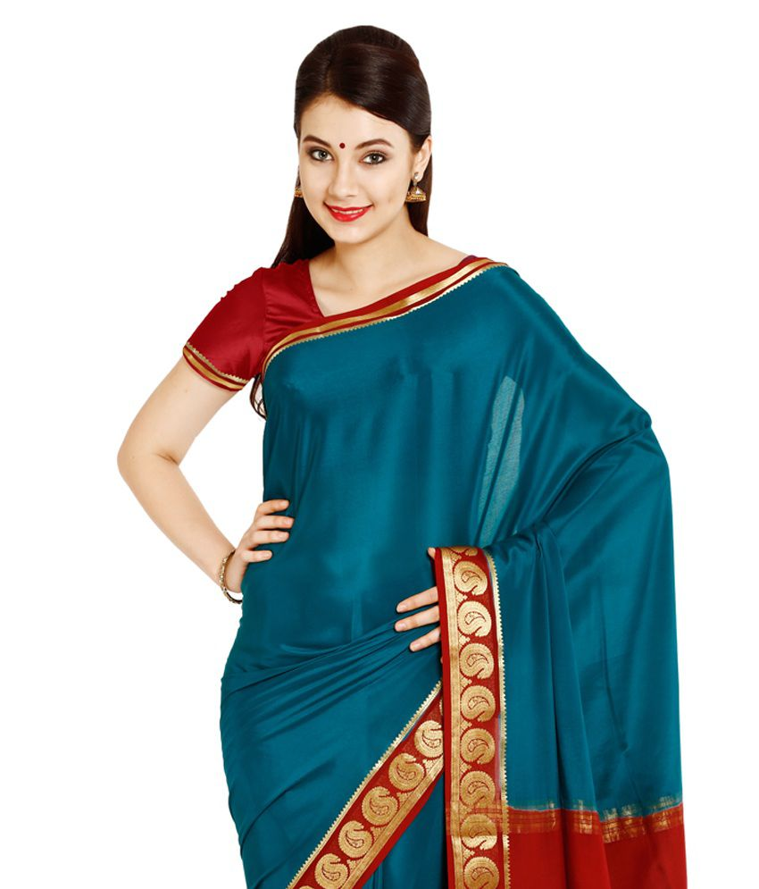 15458229c Kaushika Sarees Green and Blue Mysore Silk Saree - Buy Kaushika Sarees  Green and Blue Mysore Silk Saree Online at Low Price - Snapdeal.com