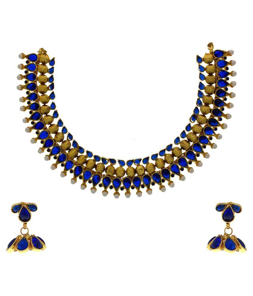 Anuradha Art Blue Alloy Necklace Set